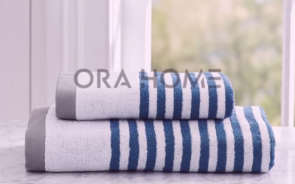 Blue and white striped Towels - Orahome
